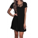 Crisscross Tie Front Short Sleeve Black Mini Dress