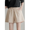 Womens Summer Simple Plain Tied Elastic Waist Loose Linen Shorts with Pocket