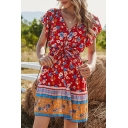 Pretty Womens Dress Floral Print Short Sleeve V-neck Tied Front Short A-line Dress in Red