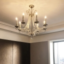 Candlestick Living Room Suspension Light Classic Crystal Beaded Chrome Finish Chandelier