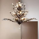 Rural Tree Branch Pendant Chandelier Faceted Cut Crystal Hanging Light Fixture for Restaurant