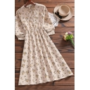 Fashionable Womens Dress Long Sleeve Ditsy Flower Print Button Up Mid A-line Dress