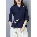 Stylish Women's Shirt Blouse Floral Embroidered Horn Button Front 3/4 Sleeves Regular Fitted Shirt Blouse
