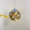Designer Starry Pendulum Light Closed-Glass Dining Table LED Suspension Pendant in Black