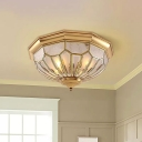 3/4/6 Lights Frosted Glass Flush Mount Lighting Fixture Traditional Gold Faceted Living Room Close to Ceiling Light, 18