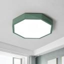 Metal Octagon Flushmount Lighting Macaron LED Ceiling Light with Acrylic Diffuser