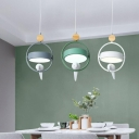 Grey-Green Round Multiple Lamp Pendant Nordic 3-Bulb Acrylic Hanging Light with Metal Ring and Bird
