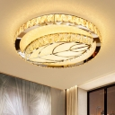 Contemporary LED Ceiling Lighting Stainless Steel Geometrical Flushmount Light with Crystal Shade