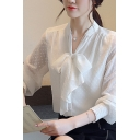 Fancy Ladies Shirt Chiffon Polka Dot Print Long Sleeve Bow-tied Neck Button Up Relaxed Shirt Top in White