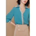 Womens Elegant Shirt Hollow Out Trim Long Sleeve Spread Collar Loose Fit Shirt in Blue