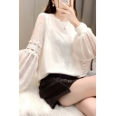 Sexy Ladies Blouse See-through Chiffon Long Sleeve Pearl Embellished Crew Neck Loose Blouse