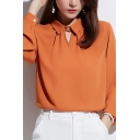Stylish Blouse Solid Color Long Sleeve Turn-down Collar Relaxed Fit Orange Blouse Top for Ladies
