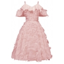 Amazing Girls Dress Solid Color Cold Shoulder Feather Tassel Mid Swing Dress