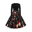 Vintage Womens Dress Mixed Christmas Patterned Long Sleeve Crew Neck Bow Tied Waist Mid Swing Pleated Dress in Black