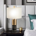Marble Column Nightstand Light Postmodern 1 Bulb Black Table Lamp with Cylinder Fabric Shade