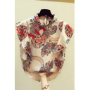 Vintage Women's Shirt Blouse Tribal Pattern Frog Button Front Stand Collar Short Sleeves Relaxed Fit Shirt Blouse