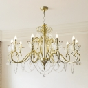 Candle Metal Hanging Lighting Antique Living Room Chandelier with Decorative Crystal Crown and Chain