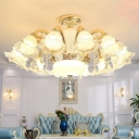 Indoor Light Fixture Antique Ruffled Semi-Opaque Glass Lighting Fitting in Gold with Crystal Accent