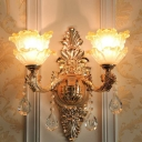 Frost Glass Blossom Wall Sconce Lamp Vintage Living Room Wall Lighting Ideas in Gold