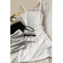 Elegant Women's Dress Solid Color Ruched Detailed Spaghetti Strap Sleeveless Mini A-Line Dress