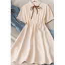 Fashionable Women's Blouse Dress Solid Color Button Detail Point Collar Tie Front Short Sleeve Midi Blouse Dress