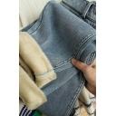 Stylish Women's Jeans Faded Wash Side Pocket Fleece Lined Elastic Waist Zip Fly Long Tapered Jeans