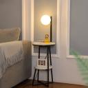 Modern Ball Floor Light Cream Glass Single Living Room LED Standing Lamp with 2-Layer Marble Shelf in Black