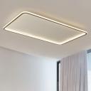 Ultra Thin Ceiling Flush Mount Light Minimalist Acrylic Black LED Rectangle Flushmount