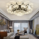 Black Radial Semi Flush Mount Light Modern K9 Crystal Block Dining Room Close to Ceiling Lamp