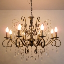 Chandelier Light Fixture Antique Candle Crystal Hanging Pendant Lamp with Scroll Arm in Brass