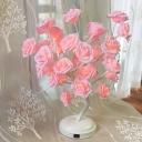 Handmade Rosebush Night Lamp Decorative Plastic USB LED Table Lighting for Bedroom