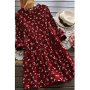 Fancy Womens Dress Ditsy Flower Print Long Sleeve Crew Neck Button Up Mid Swing Dress