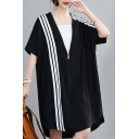 Elegant Women's T-Shirt Dress Stripe Pattern Zip Front High-Low Short Sleeves Split Hem Mini T-Shirt Dress
