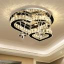 Loving Heart Shaped Ceiling Mount Light Stylish Modern Crystal Stainless Steel LED Semi Flush Mount