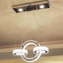 Interlocking Geometric LED Chandelier Minimalist Crystal Dining Room Hanging Lamp in Stainless Steel