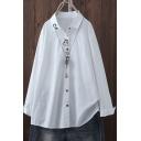 Trendy Girls Shirt Cartoon Rabbit Embroidery Long Sleeve Spread Collar Button Up Relaxed Shirt Top