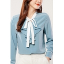 Formal Womens Chiffon Shirt Contrast Piped Long Sleeve Bow Tied Neck Ruffled Relaxed Fit Shirt Top in Blue