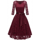 Womens Gorgeous Dress Sheer Lace Half Sleeve V-neck Bow Tied Waist Mid Pleated Swing Dress