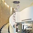 Modern Multiple Hanging Light Kit Geometric Suspension Pendant Light with Glass Shade