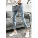 Men's New Fashion Simple Plain Light Blue Distressed Ripped Jeans