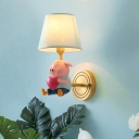 Piglet Wall Mounted Light Cartoon Resin Single Kids Room Wall Lamp with Empire Shade in Pink