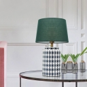 Emerald Green Empire Shade Nightstand Light Postmodern Single Fabric Table Lamp with Ceramics Jug