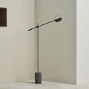 Balance Arm Stand Up Lamp Minimalist Metal LED Floor Light with Cement Cylinder Pedestal