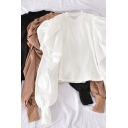Unique Women's Shirt Blouse Solid Color Long Puff Sleeves Mock Neck Slim Fitted Shirt Blouse
