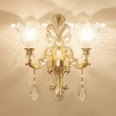 Glass Bloom Wall Mount Lamp Vintage Bedroom Sconce Light Fixture in Gold with Crystal