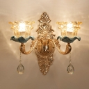 Layered Scalloped Bedside Wall Light Classic Amber Glass Gold Sconce Lamp with Crystal Decor