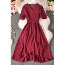 Unique Women's A-Line Dress Solid Color Wrap Front Short Sleeve with Waist Tie Asymmetrical Hem Long A-Line Dress