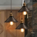 Industrial Cone Shade Hanging Light 1 Bulb Metallic Pendant Light Fixture in Black