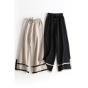 Vintage Women's Pants Stripe Pattern Elastic Drawstring Waist Long Wide Leg Knitted Pants