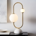 Frosted Glass Sphere Nightstand Lamp Post-Modern 2 Bulbs Gold Table Light with Dome Marble Base